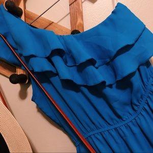 Blue One Shoulder Ruffle Dress